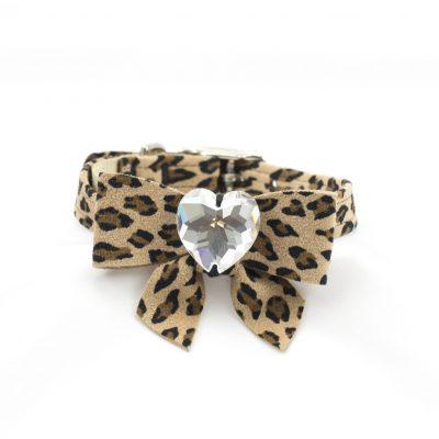 Cheetah Couture Tail Bow Heart Collar