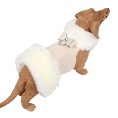 White Fox Fur Coat with Big Bow