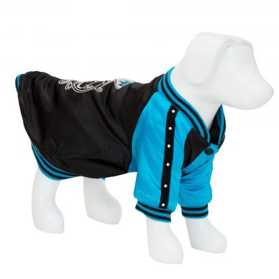 F&R for VP Pets Satin Baseball Jacket - Black/Blue