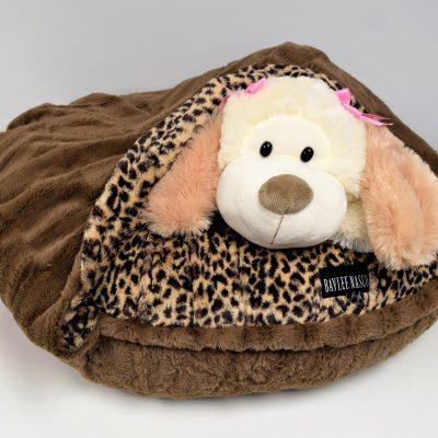 Leopard & Chocolate Mink Snuggle Bed