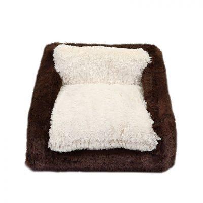 Chocolate & Cream Shag Sofa Bed