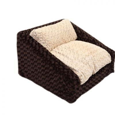 Chocolate & Beige Rosebud Sofa Bed
