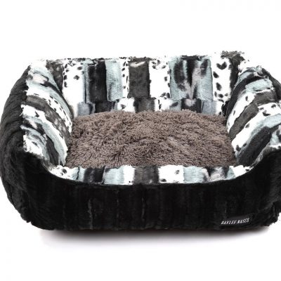 Exotic Black & Grey with Black Mink & Grey Shag Lounge Bed