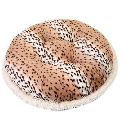 Snow Leopard & Chocolate Mink Bagel Bed