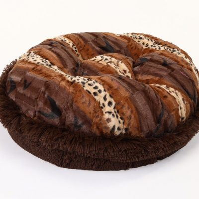 Exotic Fur Brown/Gold & Chocolate Shag Bagel Bed