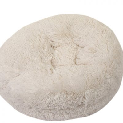 Cream Shag Bagel Bed