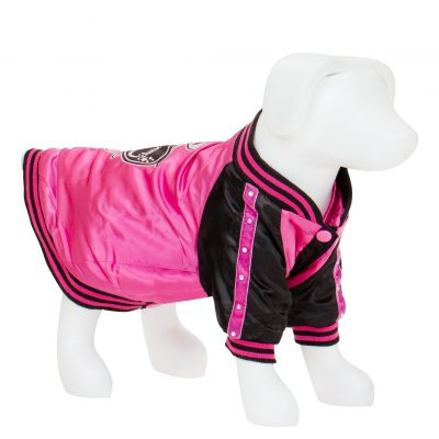 F&R for VP Pets Satin Baseball Jacket - Pink/Black
