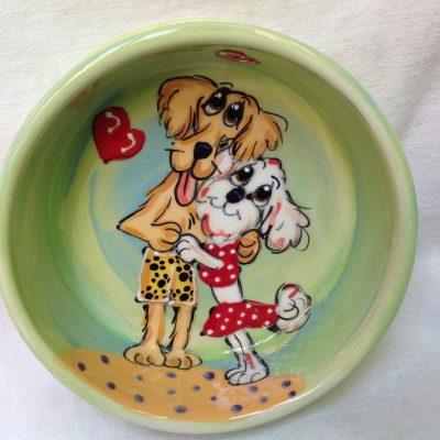 Bichon and Golden Retriever Dog Bowl