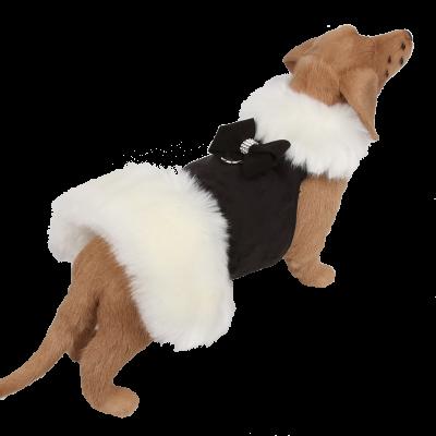 White Fox Fur Coat with Nouveau Bow