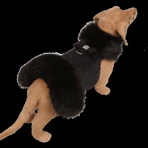 Black Fox Fur Coat with Big Bow