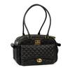 Vanderpump Classic Quilted Luxury Pet Carrier with PU Strap - Black