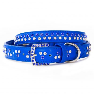 VP Pets Diamond Choker Leatherette Collar - Blue