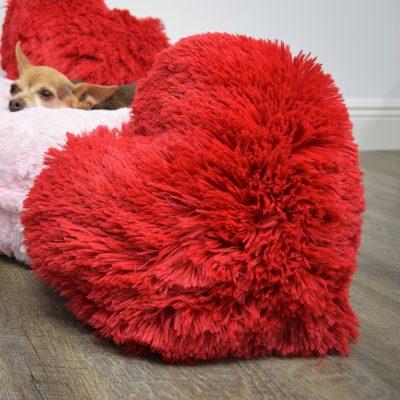 Red Shag Heart Pillow