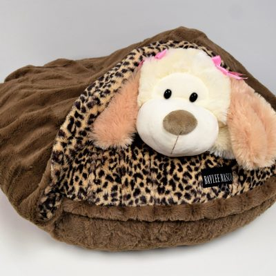 Leopard & Chocolate Mink Snuggle Bed