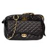 Vanderpump Classic Quilted Luxury Pet Carrier with chain - Black