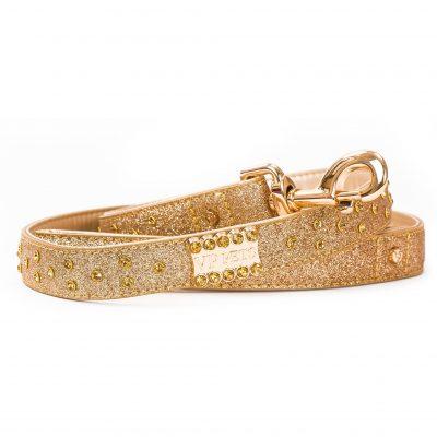 VP Pets Signature Diamond Name Plate Leatherette Leash - Gold