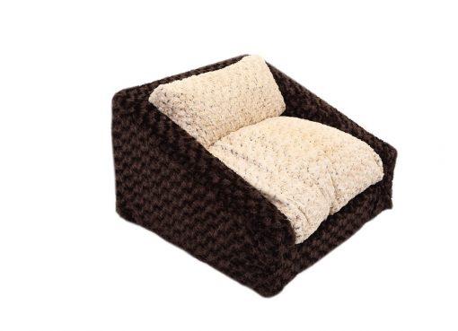 Chocolate & Beige Rosebud Sofa Bed