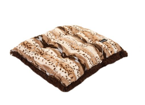 Exotic Beige Fur with Chocolate Shag Pillow Bed