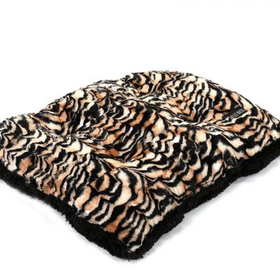Tiger with Black Shag Pillow Bed