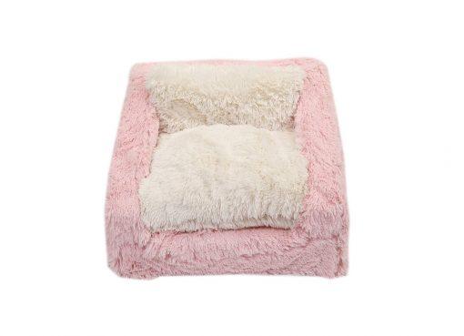 Light Pink & Cream Shag Sofa Bed