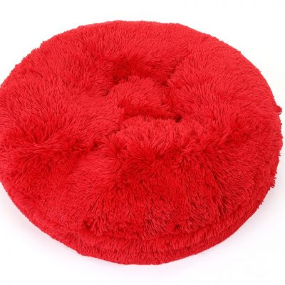 Red Shag Bagel Bed