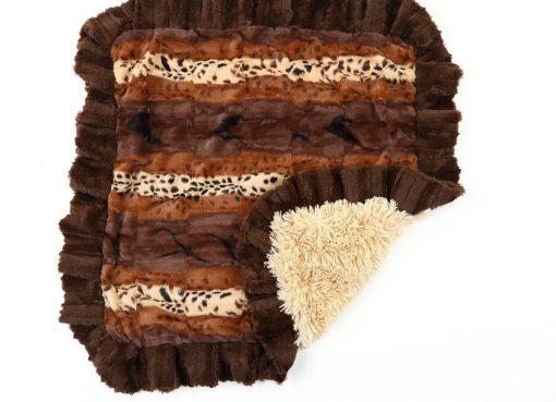 Exotic Fur Brown/Gold and Camel Shag Blanket