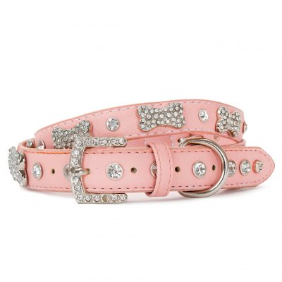 VP Pets Designer Diamond and Bone Leatherette Collar - Pink