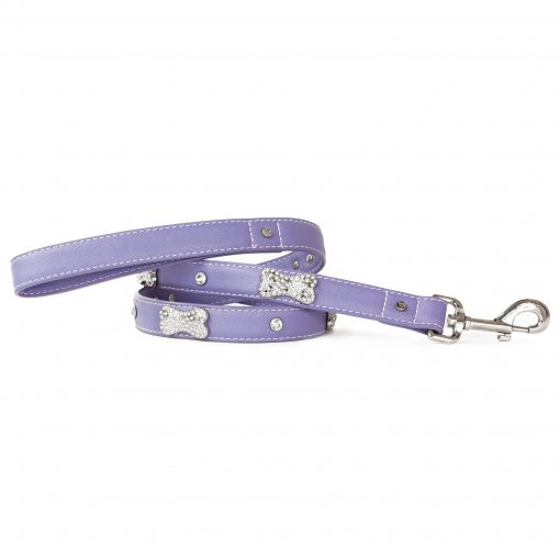 VP Pets Designer Diamond and Bone Leatherette Leash - Violet
