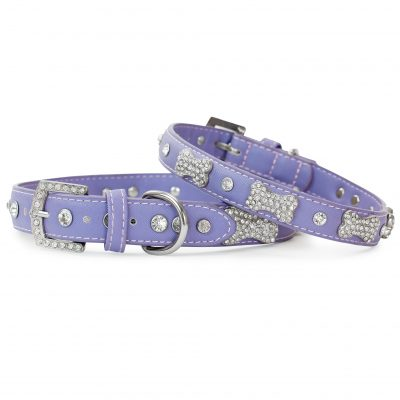 VP Pets Designer Diamond and Bone Leatherette Collar - Violet