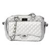Vanderpump Classic Quilted Luxury Pet Carrier with chain - Silver