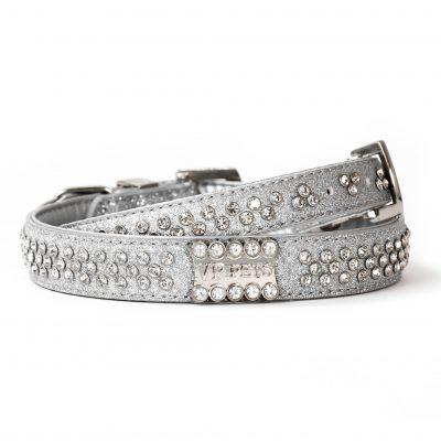 VP Pets Signature Diamond Name Plate Leatherette Collar – Silver