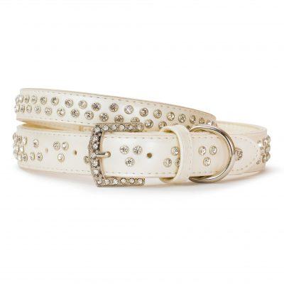 VP Pets Diamond Choker Leatherette Collar - White