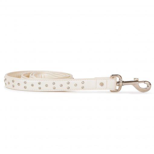 VP Pets Diamond Choker Leatherette Leash - White