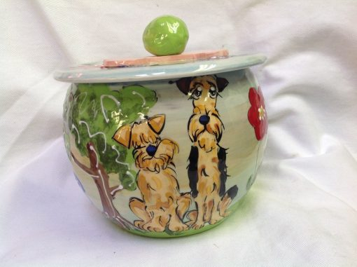 Airedale and Wheaten Terrier Treat Jar