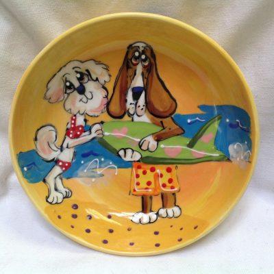 Bichon and Bassett Hound Dog Bowl