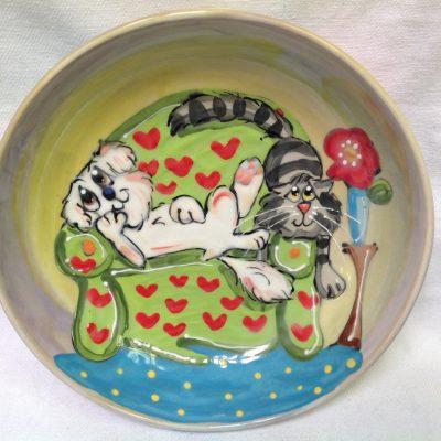 Bichon and Cat Dog Bowl