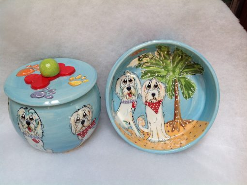 Golden Doodle Dog Bowl and Treat Jar