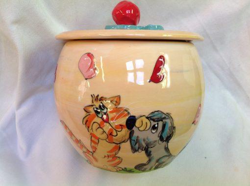 Schnauzer and Cat Treat Jar