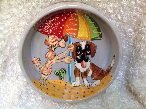 Saint Bernard and Poodle Dog Bowl