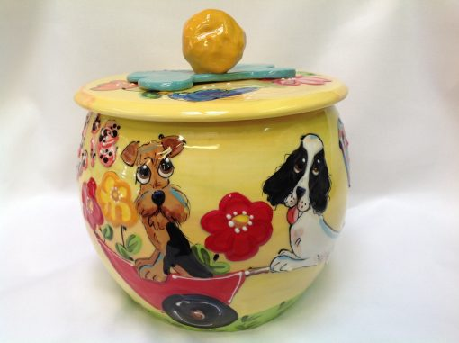 Springer Spaniel and Airedale Terrier Treat Jar