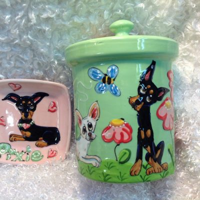 Chihuahua Dog Bowl and Treat Jar