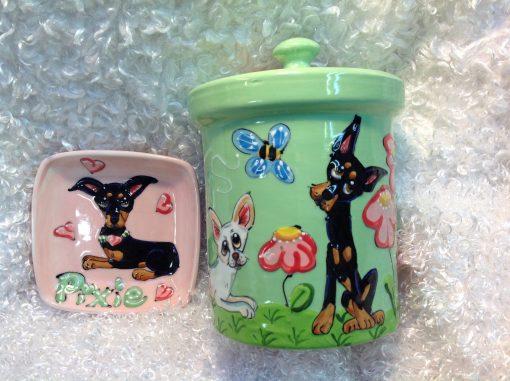 Chihuahua Dog Bowl and Treat Jar