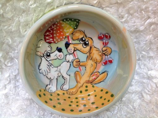 Golden Retriever and Poodle Dog Bowl