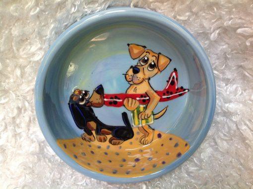 Dachshund and Golden Retriever Dog Bowl