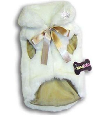 Fun Fur Glamour Coat- White with Gold Ribbon