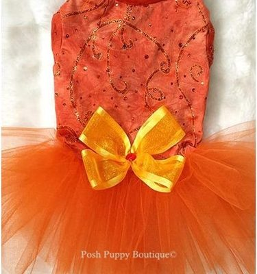 Tangerine Glitter Tutu Dress