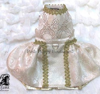 Couture Victoria Gold Brocade Swarovski Crystal Dog Dress