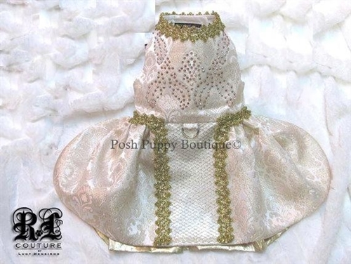 Couture Victoria Gold Brocade Swarovski Crystal Dog Dress