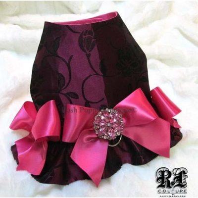 Couture Magenta Blossoms Dog Harness Dress