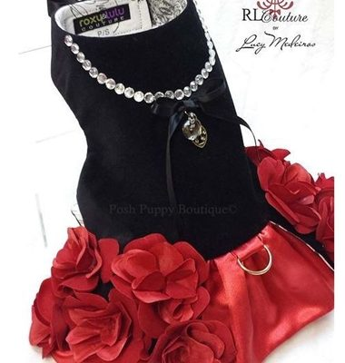 Couture Flamenco Rose Dog Harness Dress